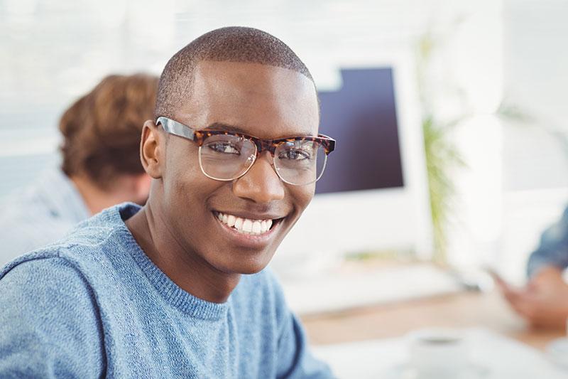 Young african american male wearing trendy eyewear